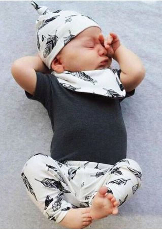 4Pcs Baby Feather Printed Top Pants Hat and Bib Set Black