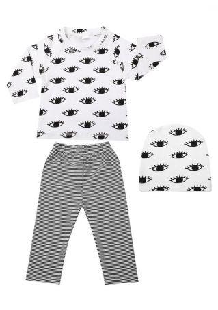 3Pcs Baby Eye Striped Top Pants and Cap Set White