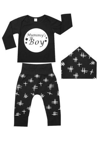 3Pcs Mummy's Boy Star Top Pants and Bib Set Black