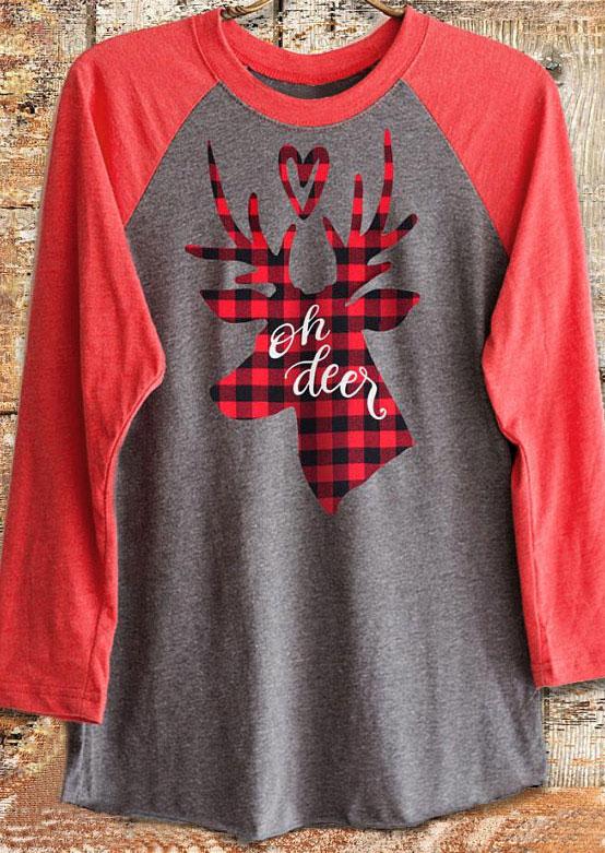 Christmas Oh Deer Plaid Reindeer Baseball T Shirt Bellelily