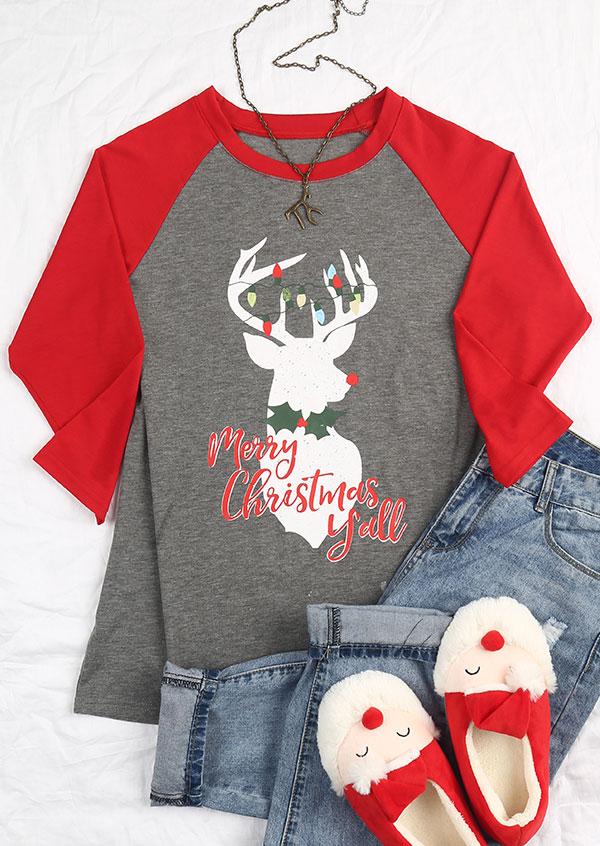 merry christmas yall reindeer baseball t shirt zoom