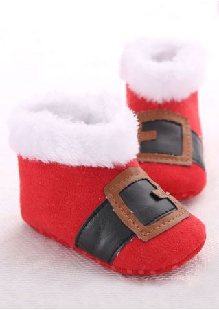 Baby Splicing Warm Shoes Red