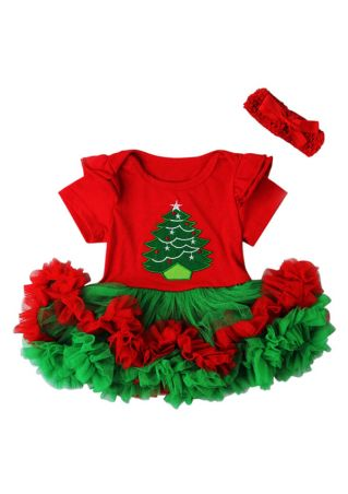2Pcs Christmas Tree Girls Ruffled Dress and Headband Set Red