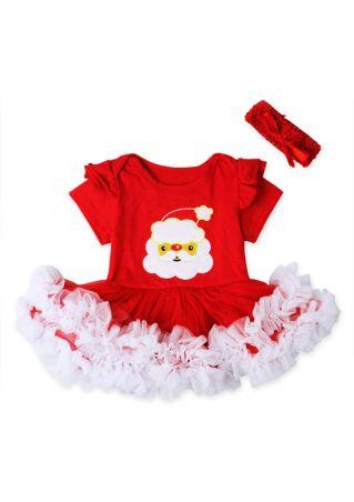 2Pcs Christmas Girls Santa Claus Ruffled Dress and Headband Set Red