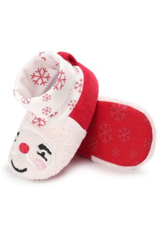 Baby Snowflake Printed Warm Shoes White