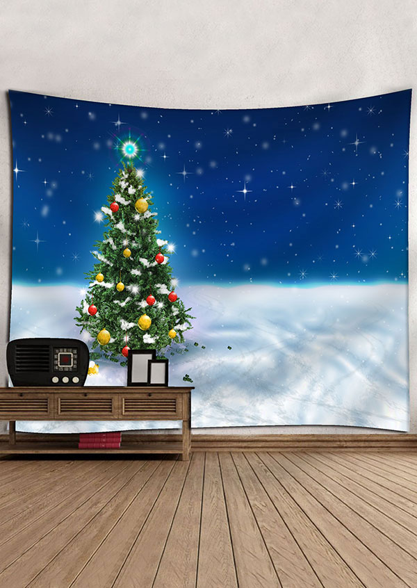 Christmas tree snow rectangular tapestry bellelily