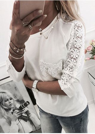 Solid Lace Splicing Pocket Blouse without Necklace