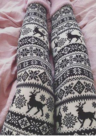 Christmas Reindeer Elastic Waist Leggings