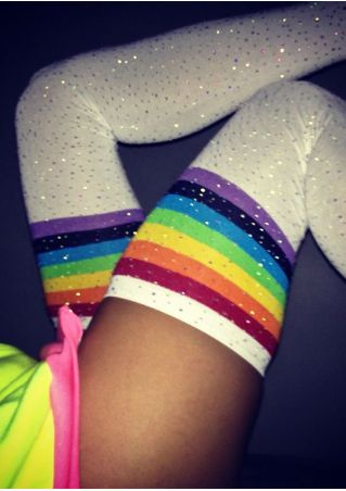 Imitated Crystal Striped Socks