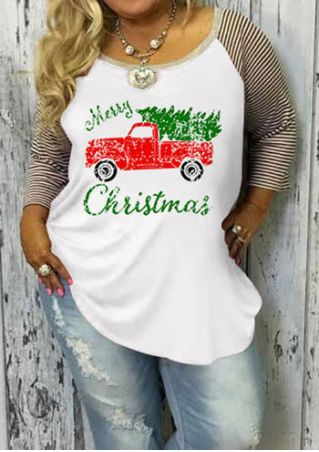 Plus Size Merry Christmas Baseball T-Shirt without Necklace