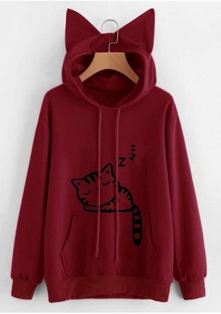 Cat Drawstring Pocket Hoodie