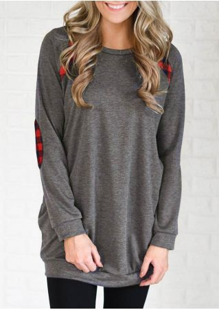 Plaid Elbow Patch O-Neck Sweatshirt