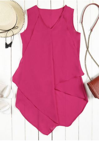 Solid Layered Asymmetric V-Neck Tank