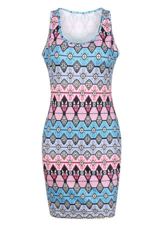 Geometric Printed O-Neck Bodycon Dress