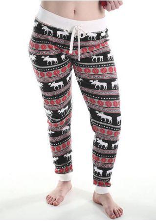 Christmas Splicing Reindeer Pocket Pants
