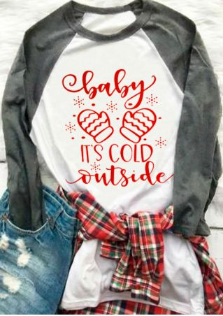 Plus Size Baby It's Cold Outside Baseball T-Shirt