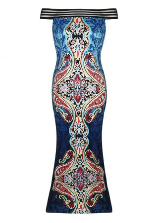 Printed Splicing Off Shoulder Maxi Dress