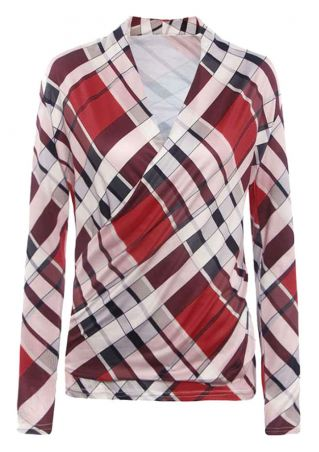 Plaid Wrap V-Neck Long Sleeve Blouse