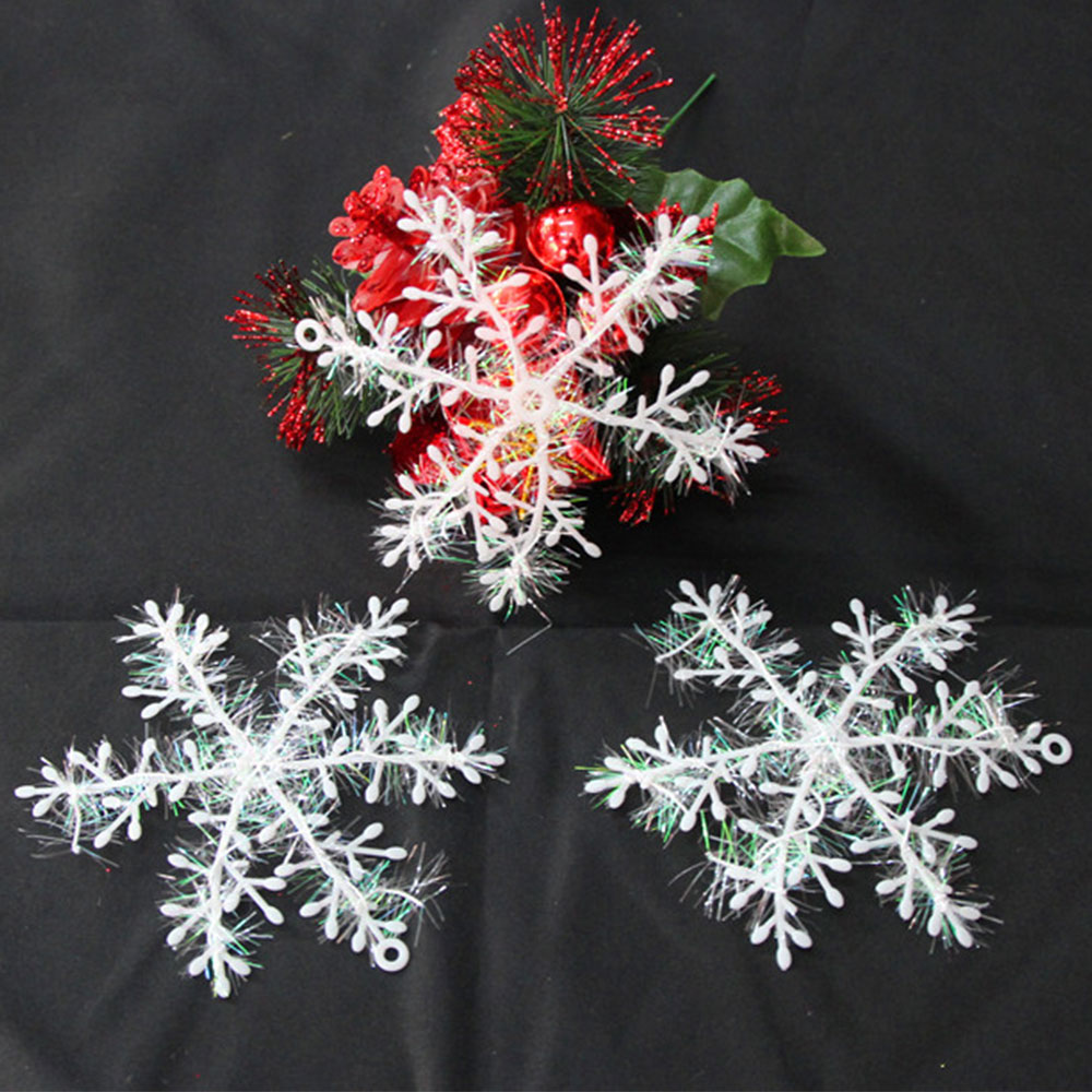 Christmas Tree Return Policy: 3Pcs Glitter Plastic Snowflake Christmas Tree Decor