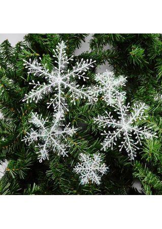 3Pcs Glitter Plastic Snowflake Christmas Tree Decor