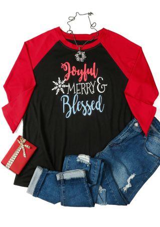 Plus Size Joyful Merry Blessed Baseball T-Shirt