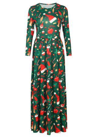Christmas Stocking Mistletoe O-Neck Maxi Dress