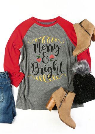 Christmas Merry & Bright O-Neck Baseball T-Shirt