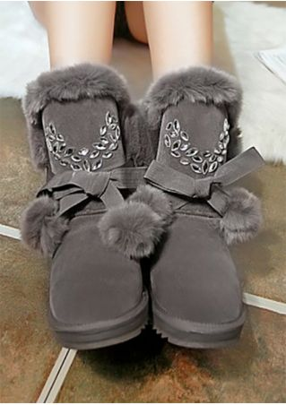 Imitated Crystal Pompon Round Toe Boots