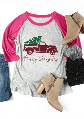 Merry Christmas Car O-Neck Baseball T-Shirt