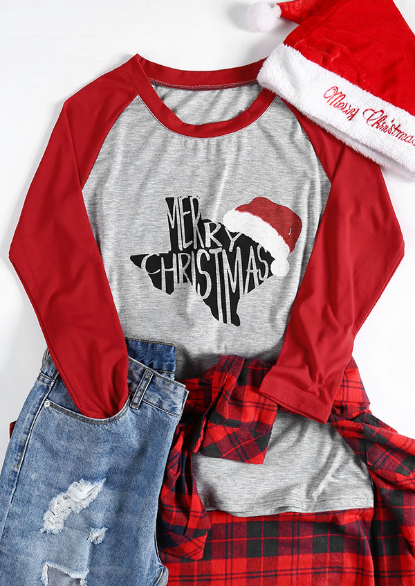 merry christmas o-neck baseball t-shirt