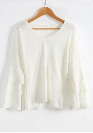 Solid V-Neck Flare Sleeve Sweater