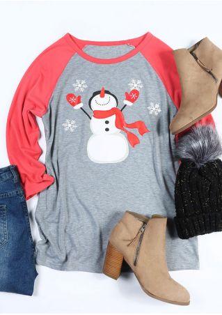 Christmas Snowman O-Neck Baseball T-Shirt