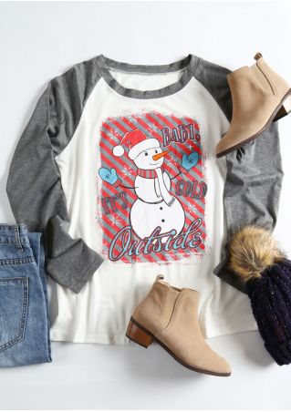 Christmas Snowman Baby It's Cold Outside Baseball T-Shirt