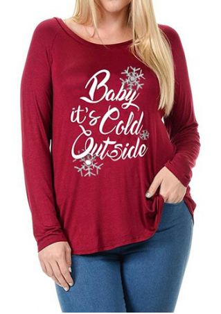 Christmas Plus Size Baby It's Cold Outside Snowflake T-Shirt