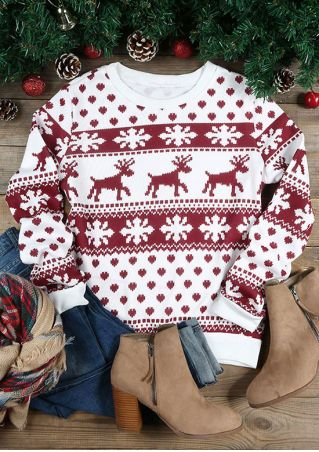 Christmas Reindeer Snowflake Long Sleeve Sweatshirt