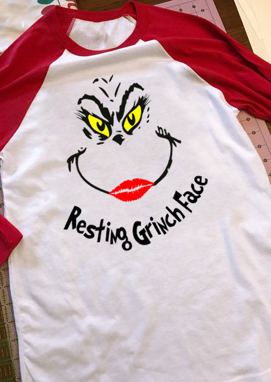 dcf813a75abd4 Christmas Resting Grinch Face Baseball T-Shirt - Bellelily