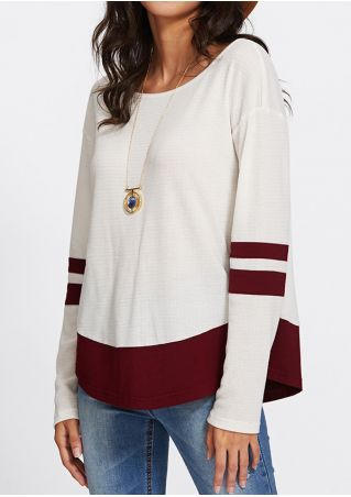Striped Splicing O-Neck Long Sleeve T-Shirt without Necklace