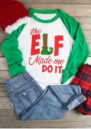 Christmas The Elf Made Me Do It Baseball T-Shirt