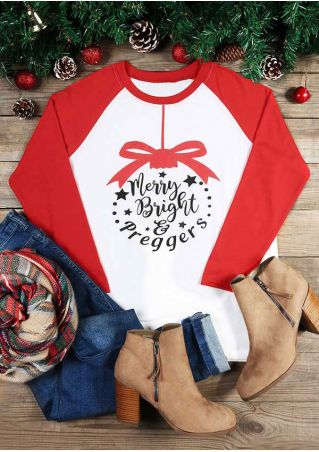 Merry Bright & Preggers Baseball T-Shirt