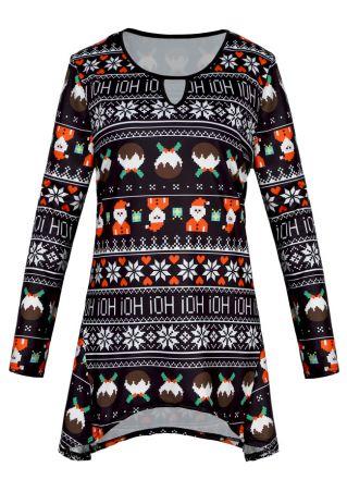 Christmas Plus Size Santa Snowflake Hollow Out Blouse