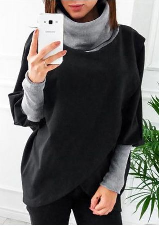 Color Block Asymmetric Batwing Sleeve Blouse
