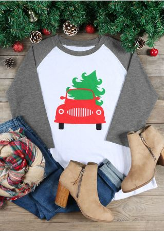 Christmas Plus Size Car Tree Baseball T-Shirt
