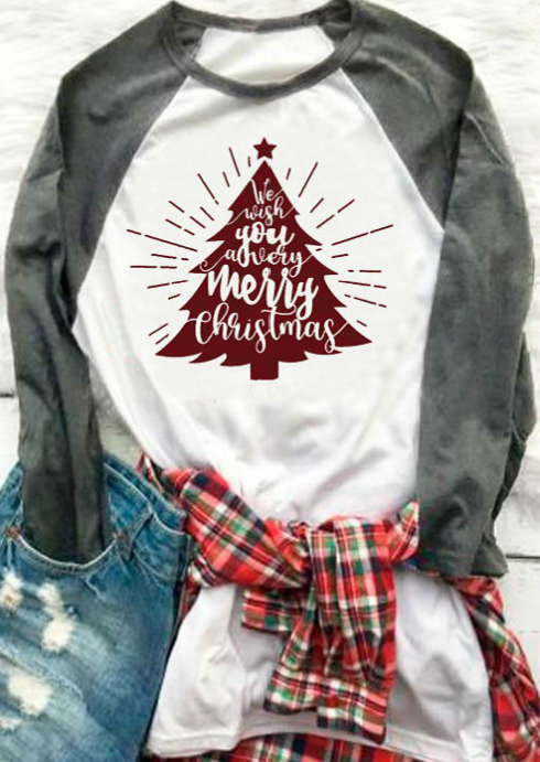 Plus Size Merry Christmas Tree Star Baseball T-Shirt ...