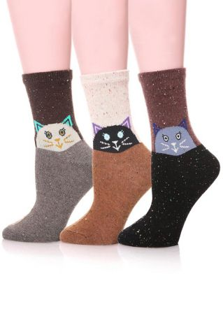 3 Pairs Animal Splicing Socks