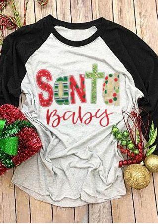 Christmas Santa Baby O-Neck Baseball T-Shirt