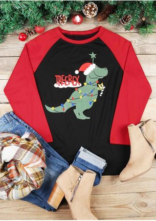 Christmas Tree Rex Baseball T-Shirt