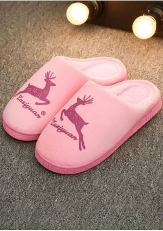 Christmas Reindeer Warm Flat Slippers