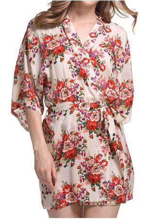 Floral Kimono Pajamas with Belt