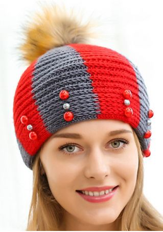 Color Block Pompon Warm Hat