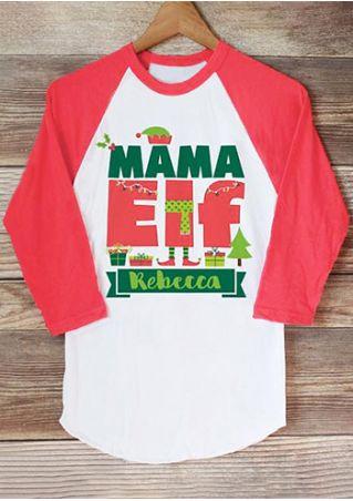 Christmas Mama Elf Baseball T-Shirt